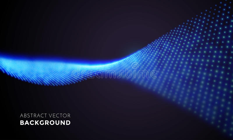 Neon LED light 3D wave glowing flow twisted motion vector technology background. Spiral abstract neon light in motion. Vector digital blue LED lights wave with stock illustration