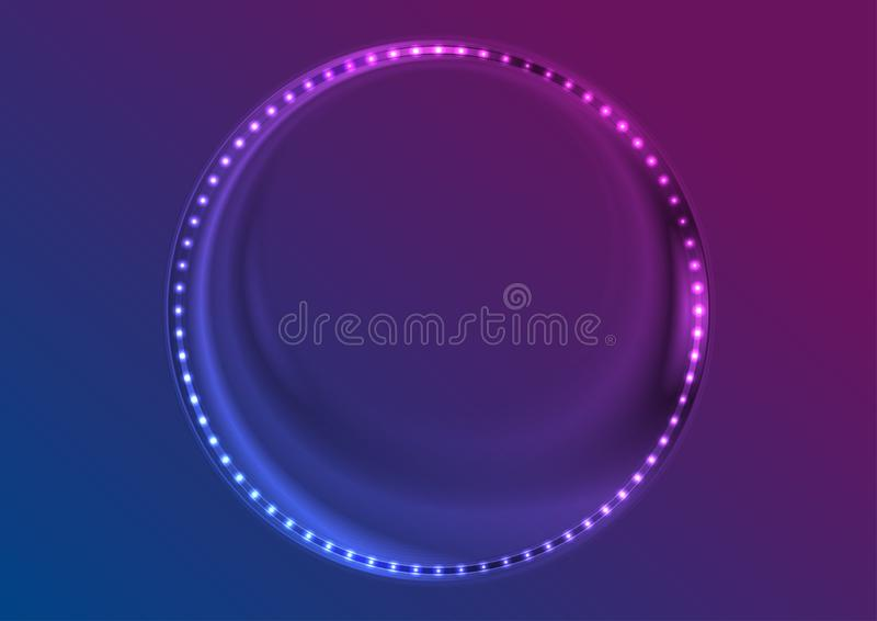 Neon led lights abstract circle frame background vector illustration