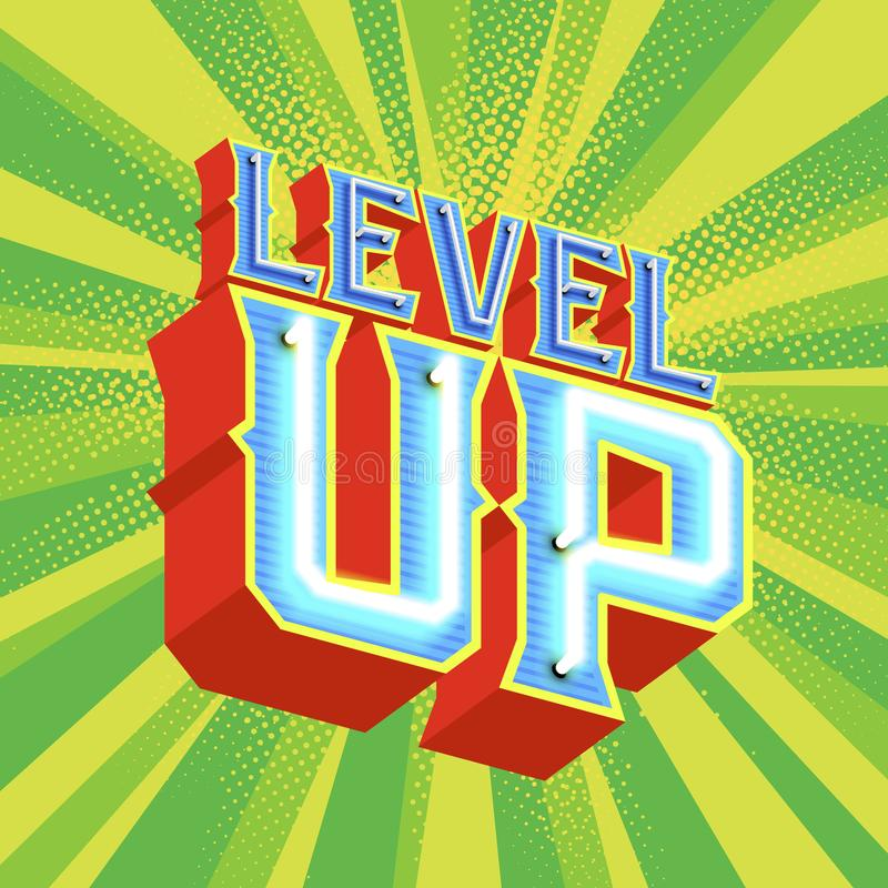 Neon lettering LEVEL UP stock illustration