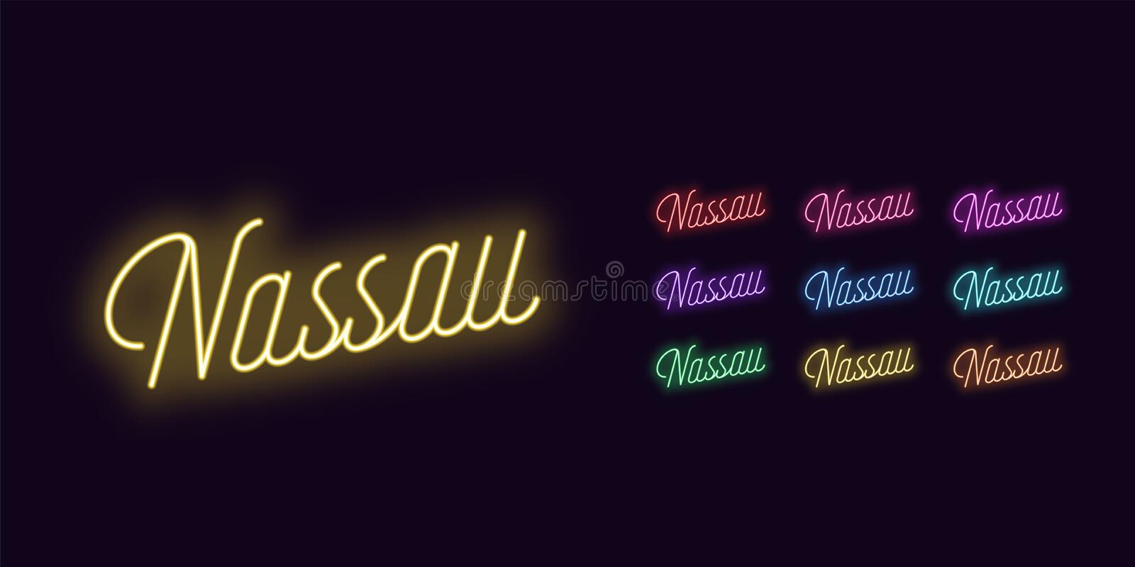 Neon lettering of Nassau name. Neon glowing text. Neon lettering of Nassau name. Neon text of Nassau city. Set of glowing inscription with transparent backlight stock illustration