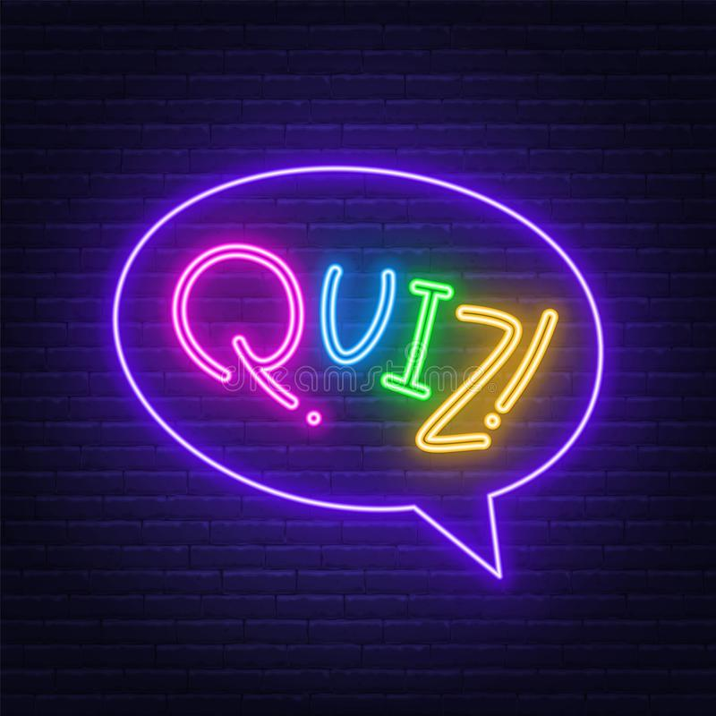 Neon Lettering Quiz on a brick wall background. Multicolored inscription vector illustration