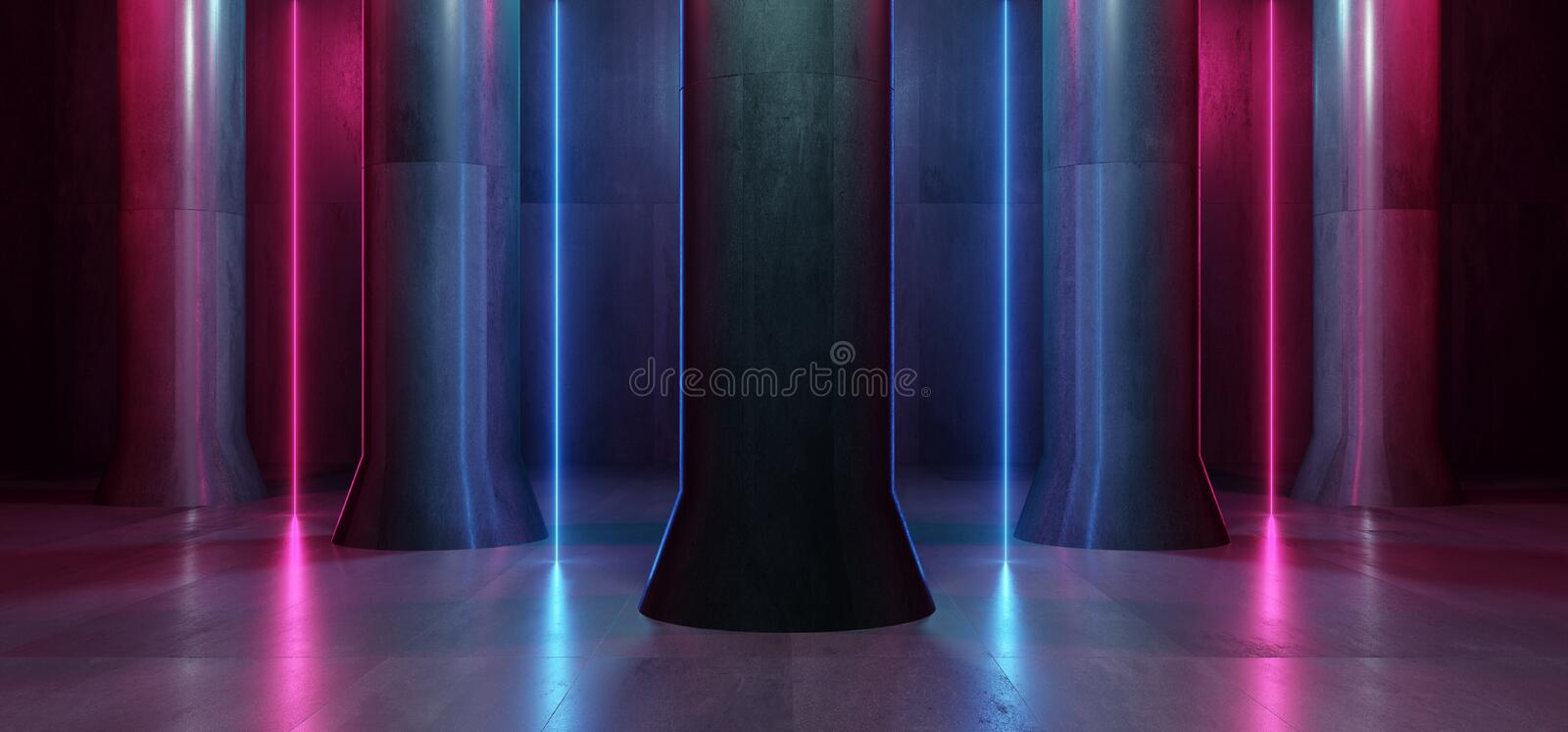 Neon Lgihts Purple Blue Magical Retro Modern Column Grunge Concrete Hall Room Studio Stage Futuristic Sci Fi Stone Dark Empty royalty free illustration