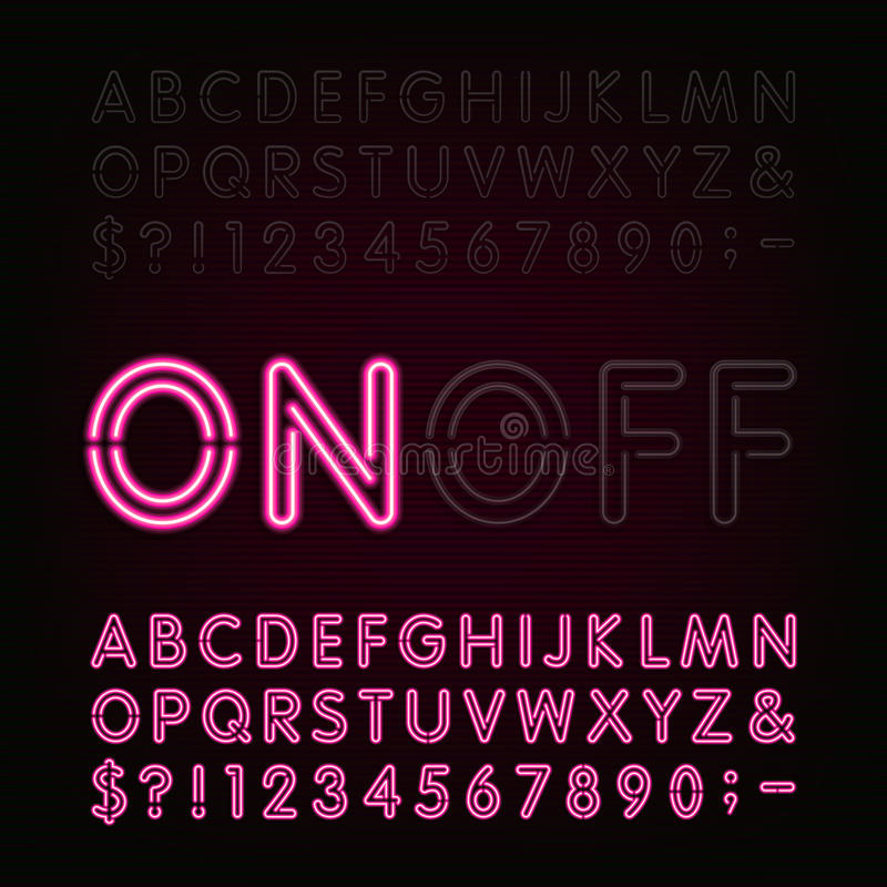 Neon Light Alphabet Font. Two different styles. Lights on or off. stock illustration