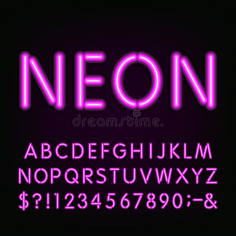 Neon Light Alphabet Font. Stock Vector