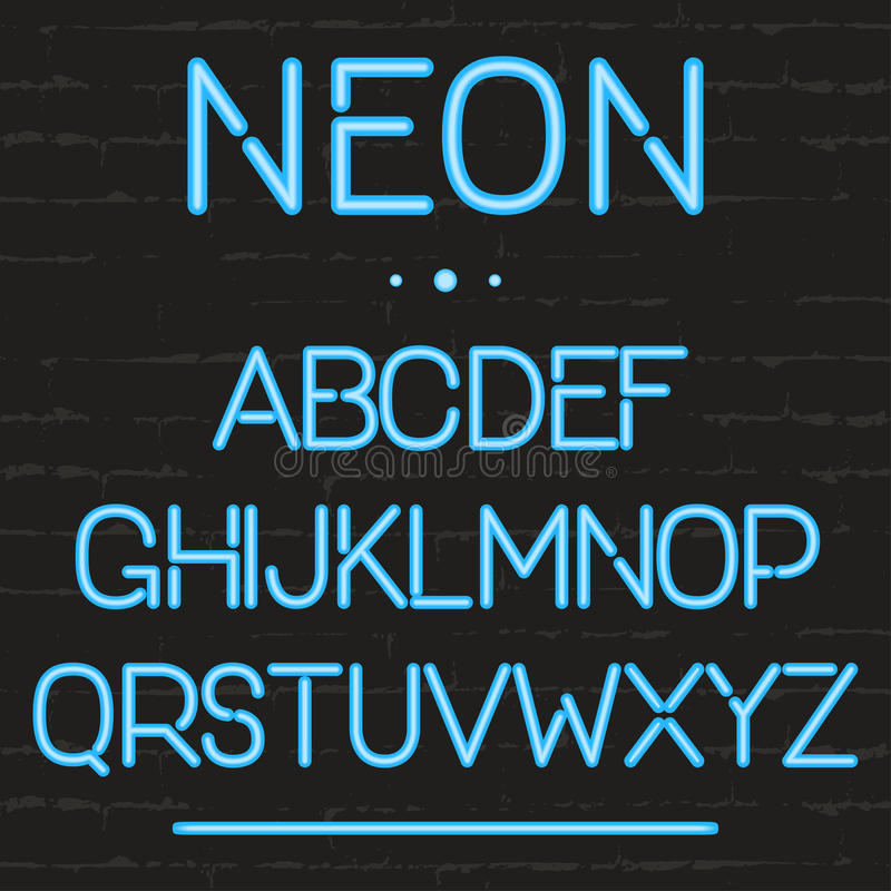 Neon light alphabet. Glowing english letters for signboards, movie, theatre, casino, advertising vector illustration