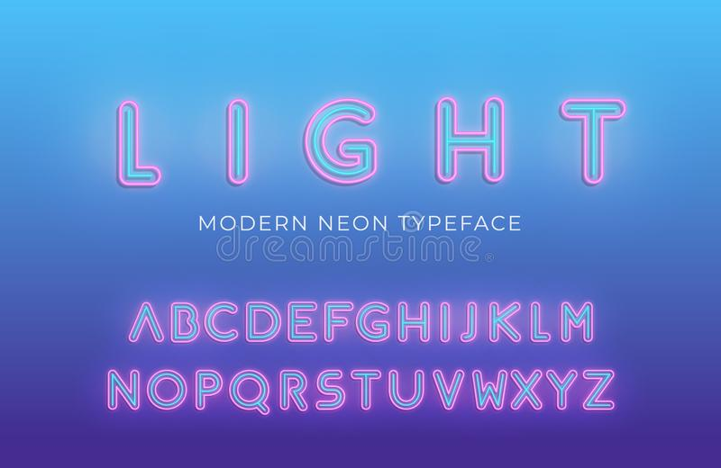 Neon light alphabet. Glowing modern futuristic font typeface.  royalty free illustration