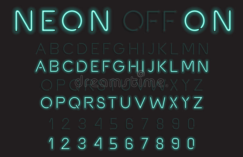 Neon Light Alphabet Vector Font vector illustration