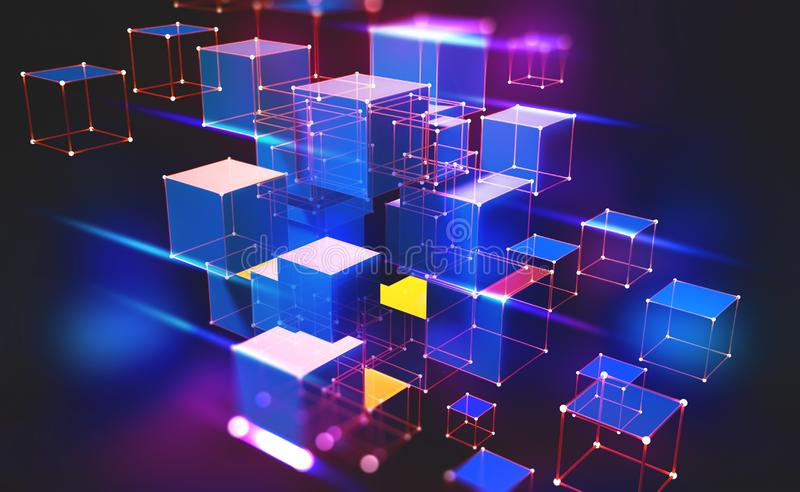 Neon light. Blockchain technology. Information block in the volumetric composition. Glowing edges on a dark background. Full-color 3D illustration of an array royalty free illustration