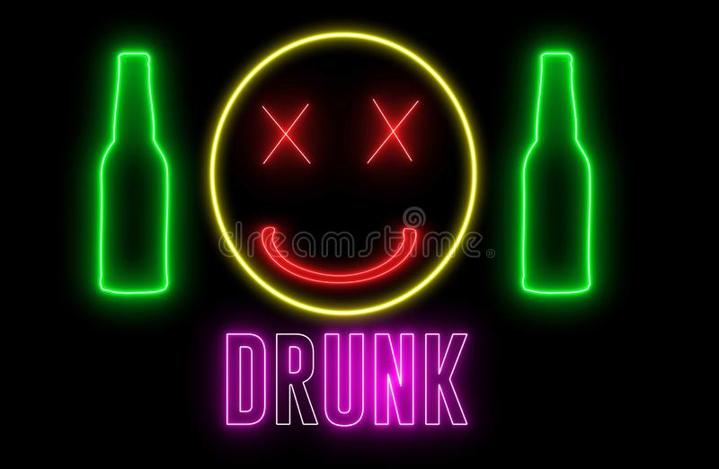 Neon light of a bottle beer, drunk emoji and text of `DRUNK`. Concept of drinking alchol, bar or club signboard. Retro design.  royalty free illustration