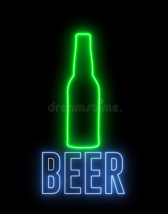 Neon light of a bottle beer and text of `BEER`. Concept of drinking alchol, bar or club signboard. Retro design.  stock illustration