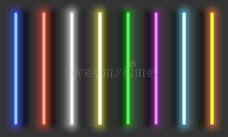 Neon light brushes with shadows, fully adjustable various colors neon design elements vector illustration