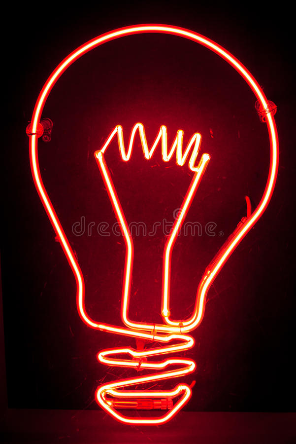 Neon Light Bulb stock photo. Image of museum, neon, object ...