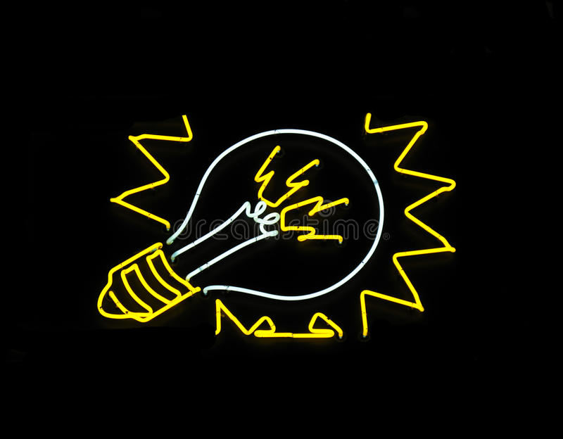 Neon light bulb sign stock photo. Image of sign ...