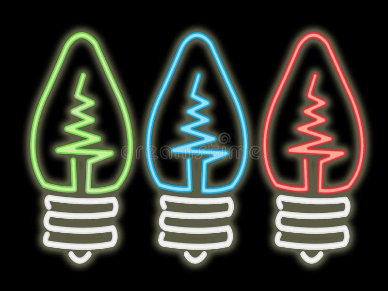 Neon light bulbs vector illustration