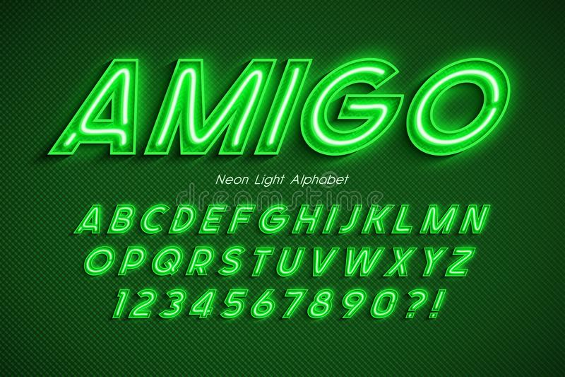 Neon light 3d alphabet, extra glowing font. Exclusive swatch color control. 20 degree skew stock illustration
