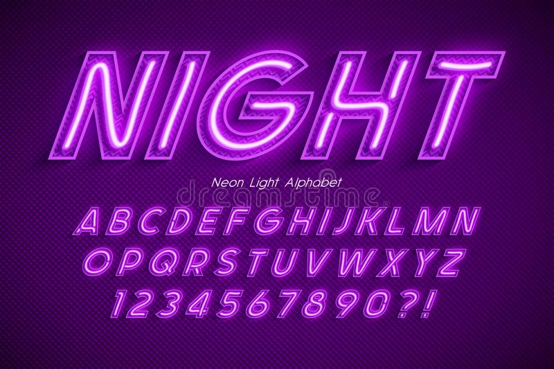 Neon light 3d alphabet, extra glowing font. Exclusive swatch color control. 20 degree skew vector illustration