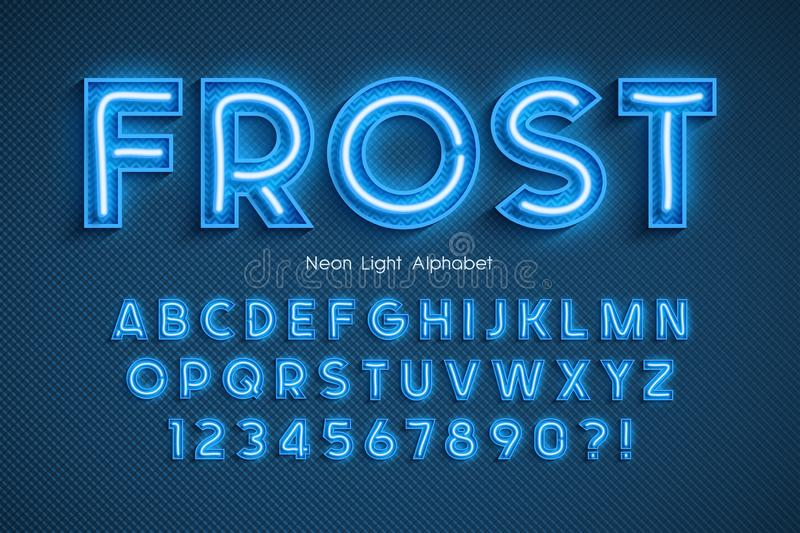 Neon light 3d alphabet, extra glowing font. Exclusive swatch color control vector illustration
