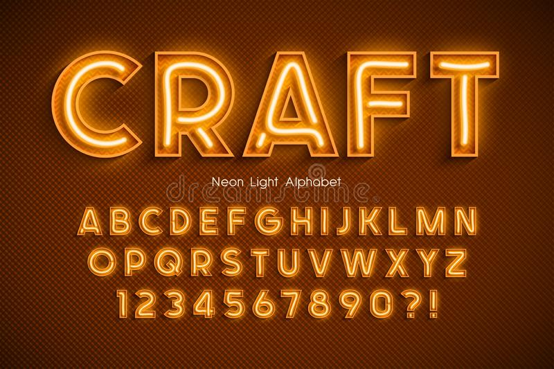 Neon light 3d alphabet, extra glowing font. Exclusive swatch color control royalty free illustration
