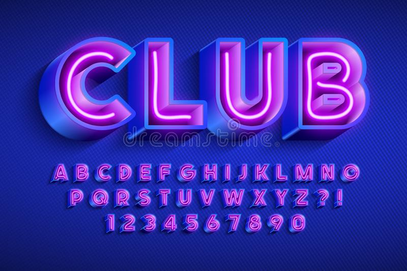 Neon light 3d alphabet, extra glowing original font. Neon light 3d alphabet, extra glowing font. Swatch color control stock illustration