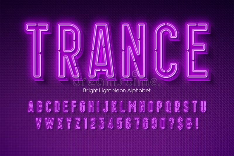 Neon light 3d alphabet, extra glowing modern type. royalty free illustration