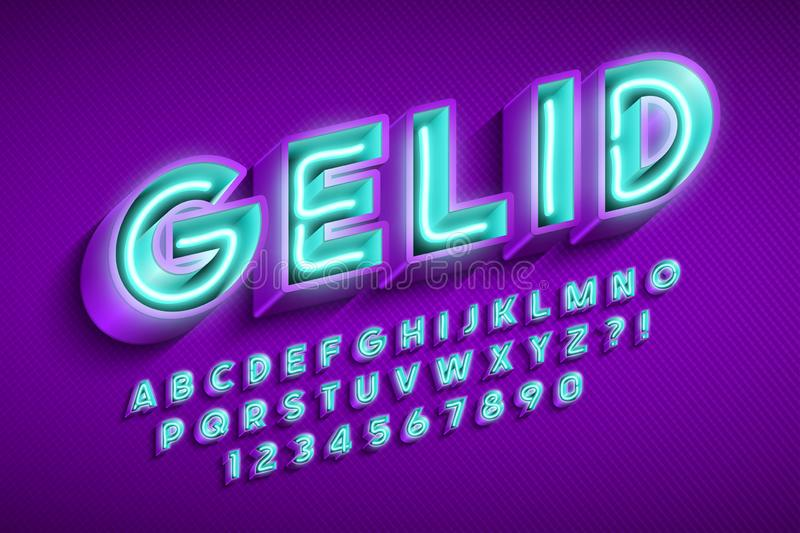 Neon light 3d alphabet, extra glowing original font. Neon light 3d alphabet, extra glowing font. Swatch color control. 13 degree skew vector illustration