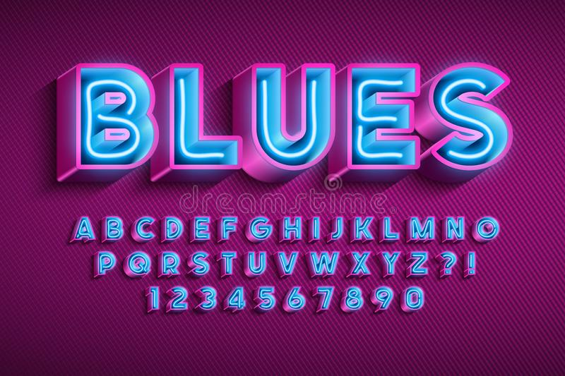 Neon light 3d alphabet, extra glowing original font. Neon light 3d alphabet, extra glowing font. Swatch color control vector illustration