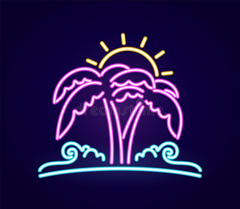 Neon light 3d beach icon. Palm tree with sun and ocean wave. Vector illustration: Neon light 3d beach icon. Palm tree with sun and ocean wave stock illustration