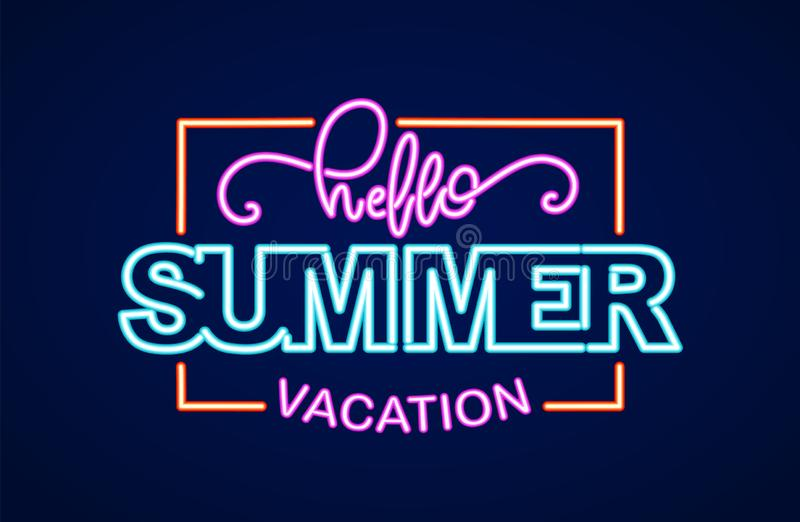 Neon light 3d lettering composition of Hello Summer Vacation in frame royalty free illustration