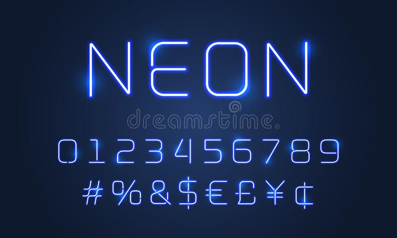 Neon light font alphabet numbers, special symbols. Vector blue neon tubes glow alphabet font with hashtag sign royalty free illustration