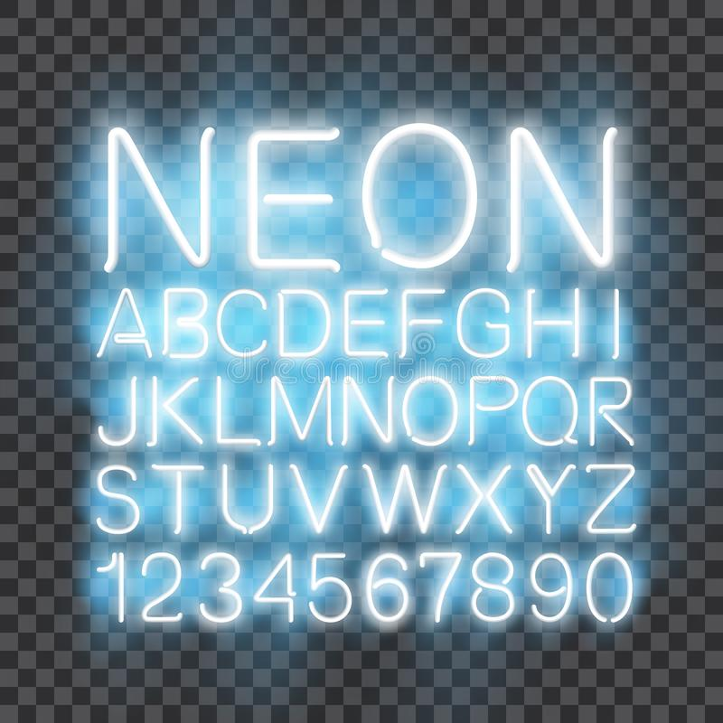 Neon light Font vector transparent background stock illustration
