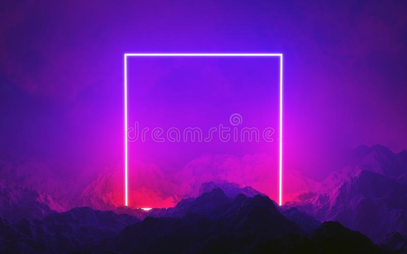 Neon light frame glowing in rocks. Energy square, show. Neon light frame glowing in rocks. Lightshow or laser show. Energy square stock photo
