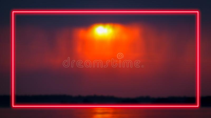 Neon light frame for text or product display. royalty free illustration