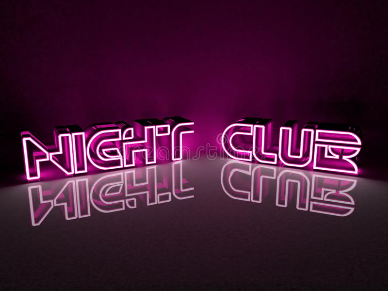 Neon light inscription night club in purple color royalty free illustration