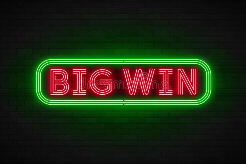 Neon light linear promotion banner,jackpot, game, big win. vector illustration