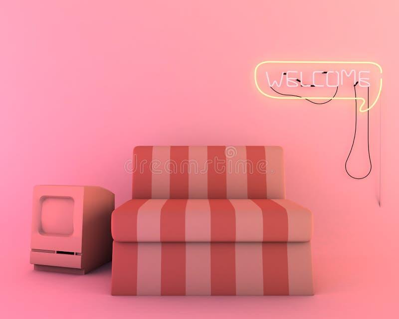 Neon Light In Living Room, Furniture Of 3d Render Mockup Stock ...