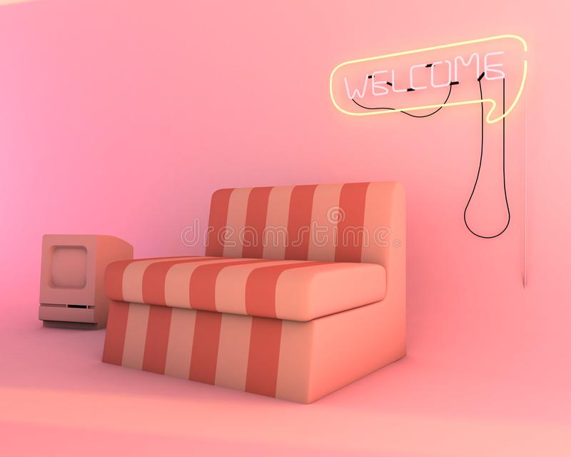 Neon Light In Living Room, Furniture Of 3d Render Mockup Stock ...