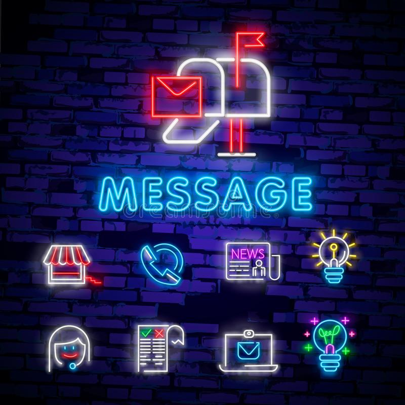 Neon light. Mail delivery icon. Envelope symbol. Message sign. Mail navigation button. Glowing graphic design. Brick wall. Vector royalty free illustration