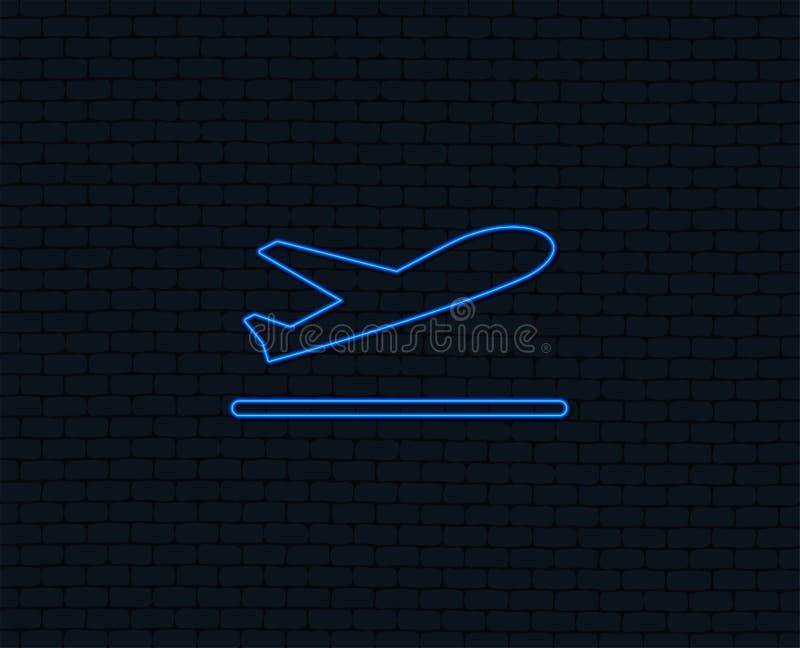 Plane takeoff icon. Airplane transport symbol. Neon light. Plane takeoff icon. Airplane transport symbol. Glowing graphic design. Brick wall. Vector vector illustration