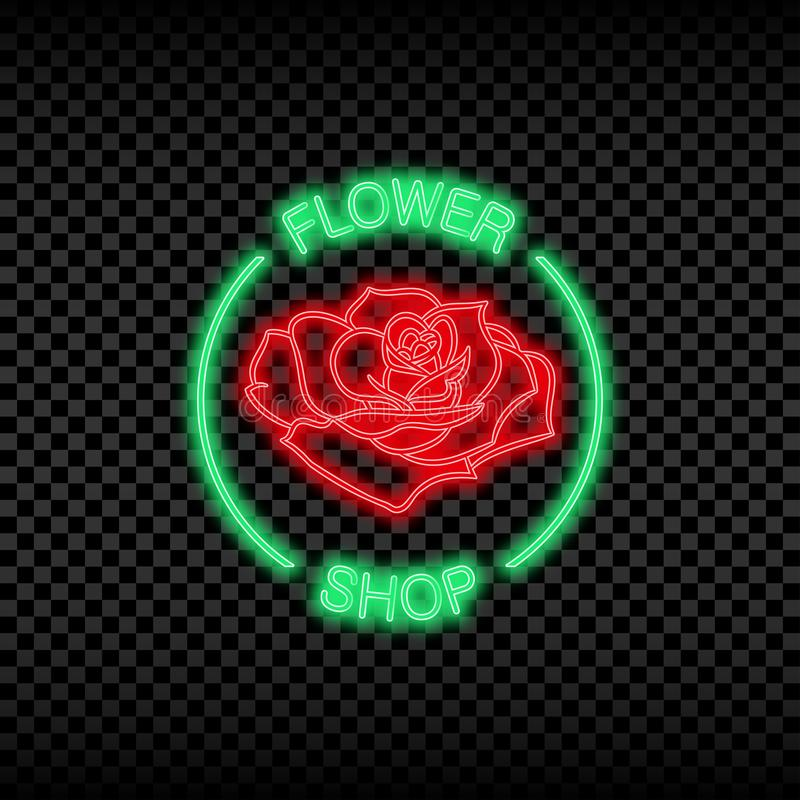 Neon light sign of flower shop. Glowing and shining bright signboard for flower store logo. Vector. Neon light sign of flower shop. Glowing and shining bright stock illustration
