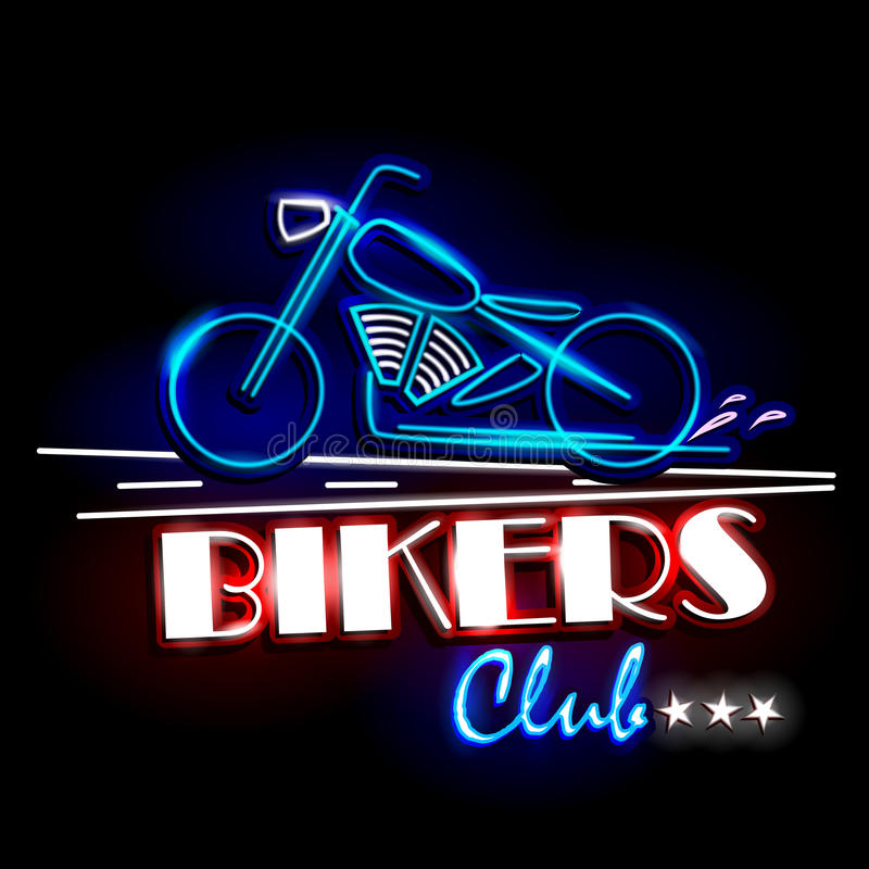 Neon Light signboard for Bikers Club. Easy to edit vector illustration of Neon Light signboard for Bikers Club vector illustration