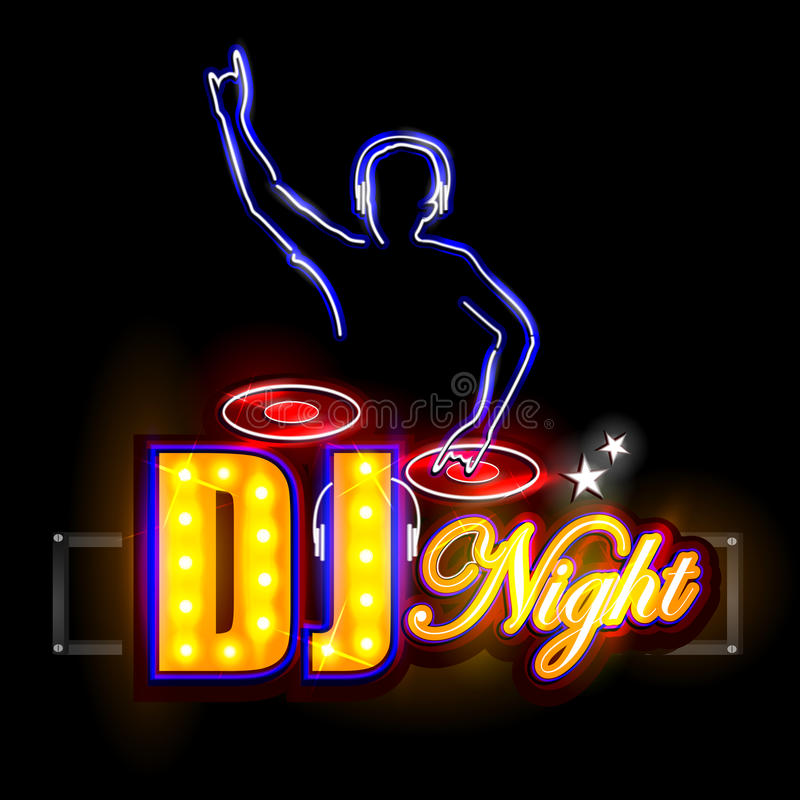 Neon Light signboard for DJ Night. Easy to edit vector illustration of Neon Light signboard for DJ Night royalty free illustration