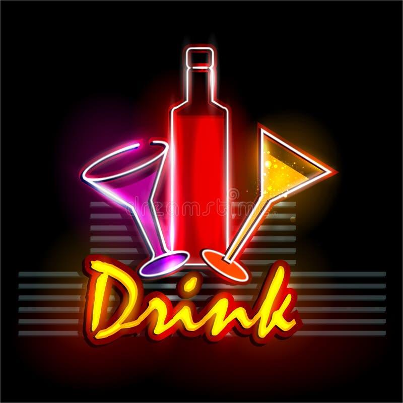 Download Neon Light Signboard For Drink Shop Stock Vector - Illustration of illuminated, mocktail: 73368493