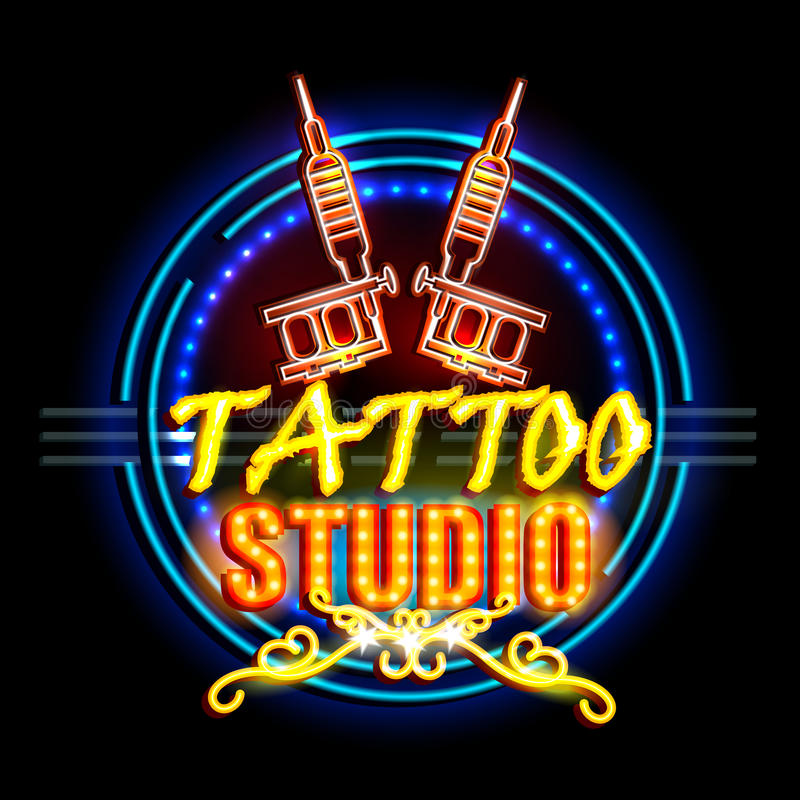 Neon Light signboard for Tattoo Studio. Easy to edit vector illustration of Neon Light signboard for Tattoo Studio vector illustration