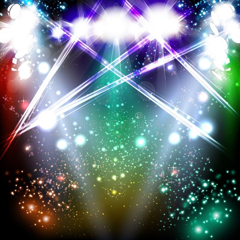 Neon light stage background vector illustration