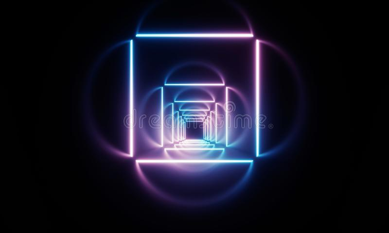 Neon light tunnel stock illustration