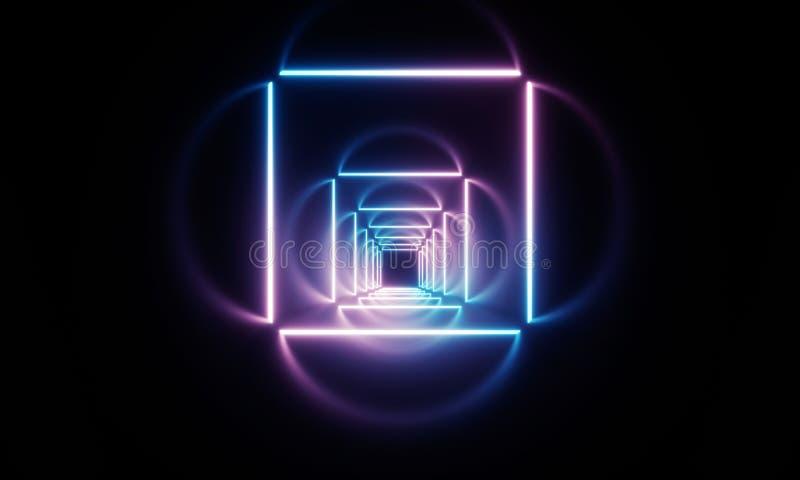 Neon light tunnel stock illustration