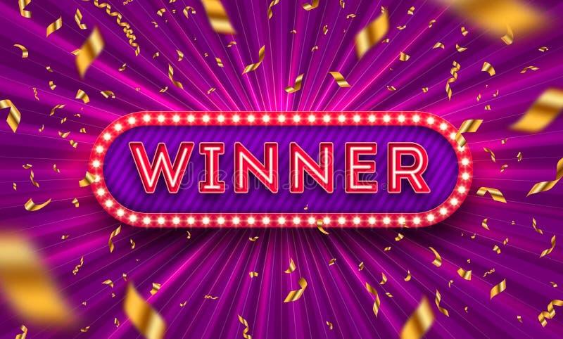 Neon light winner retro signboard and golden foil confetti against a light burst background. Vector illustration. Winner light bulb frame signboard. Winners royalty free illustration