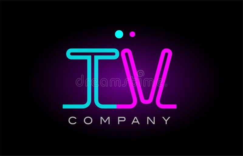Neon lights alphabet tv t v letter logo icon combination design. Alphabet tv t v letter logo design combination with neon light effect in blue and pink color royalty free illustration