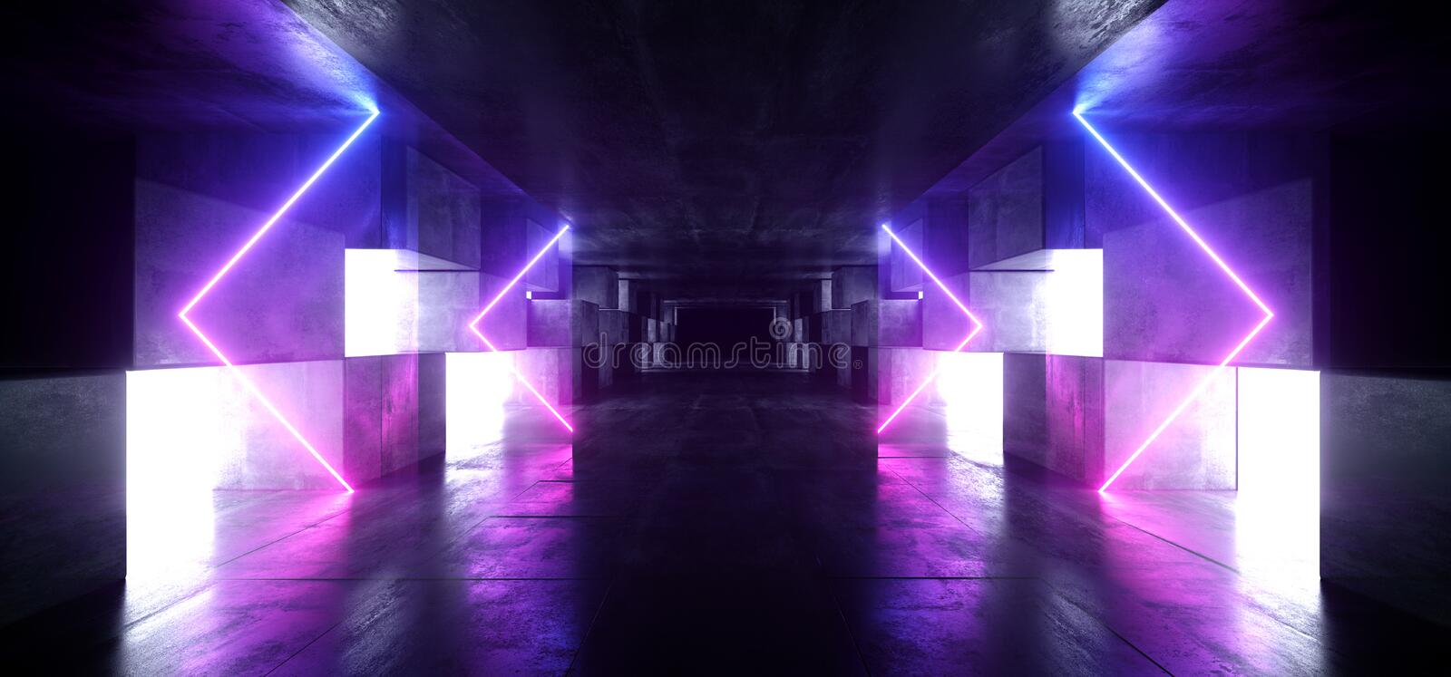 Neon Lights Arrows Graphic Glowing Purple Blue Vibrant Virtual Sci Fi Futuristic Tunnel Studio Stage Construction Garage Podium. Spaceship Night Dark Concrete vector illustration