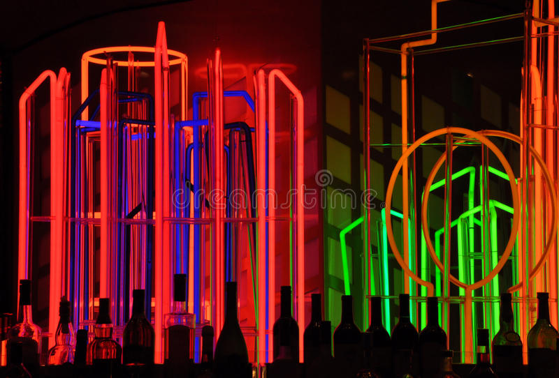Neon lights at bar stock photography
